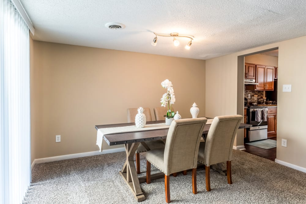Dining area model at Poplar Place in Memphis, Tennessee
