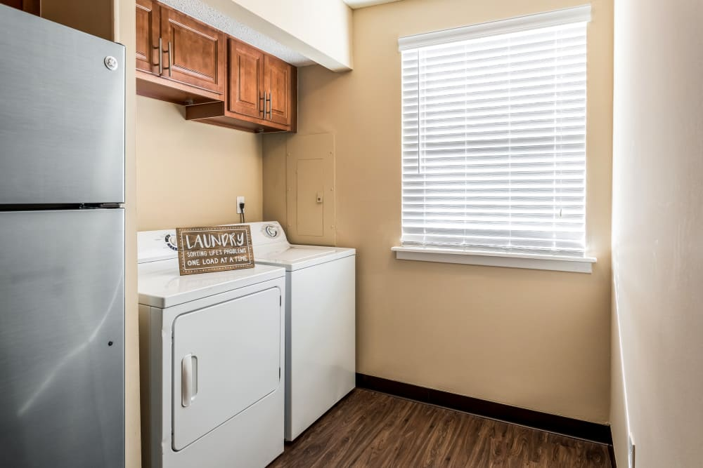 Laundry room model at Poplar Place in Memphis, Tennessee