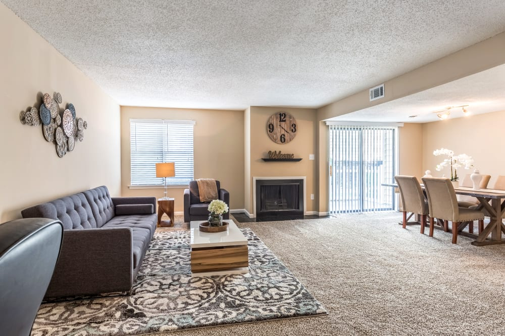 Living room model at Poplar Place in Memphis, Tennessee