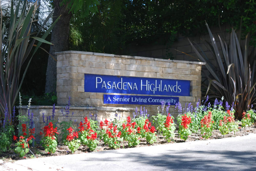 Sign to Pasadena Highlands in Pasadena, California