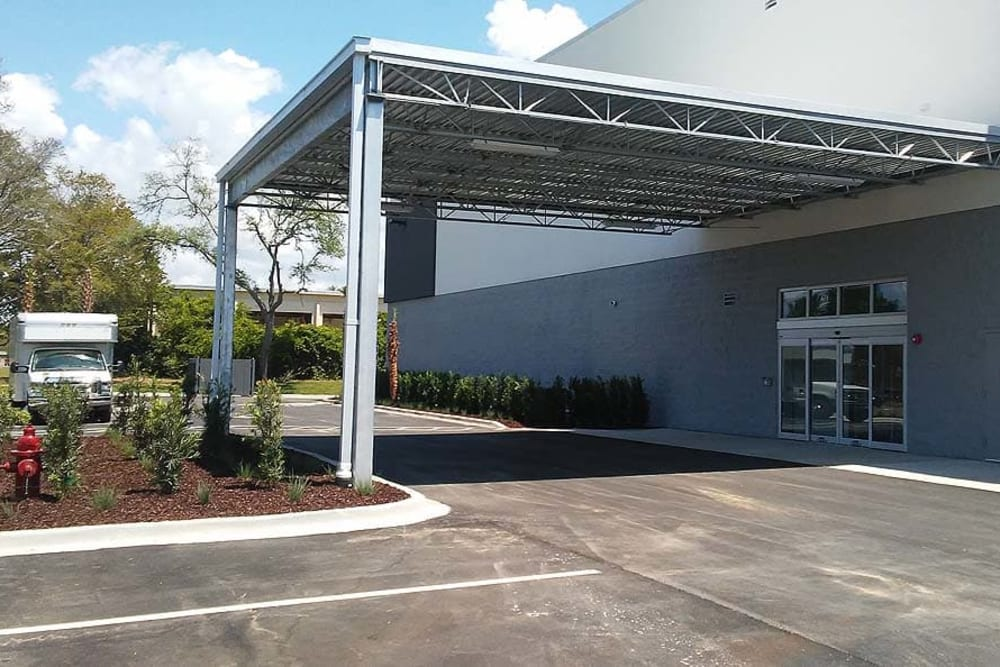 Covered parking area at Spacebox Storage in Fort Myers, Florida.