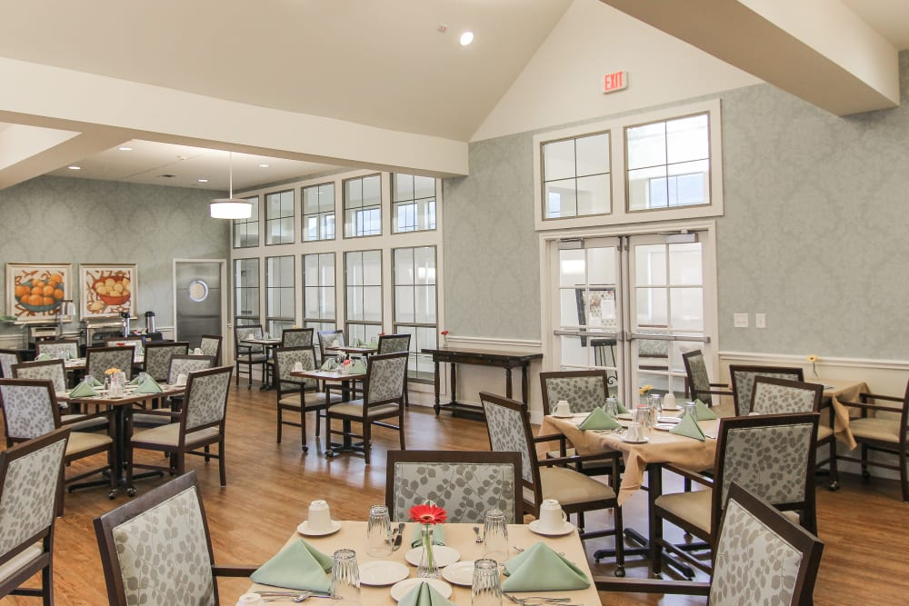 The community dining room at Village on the Park Onion Creek in Austin, Texas