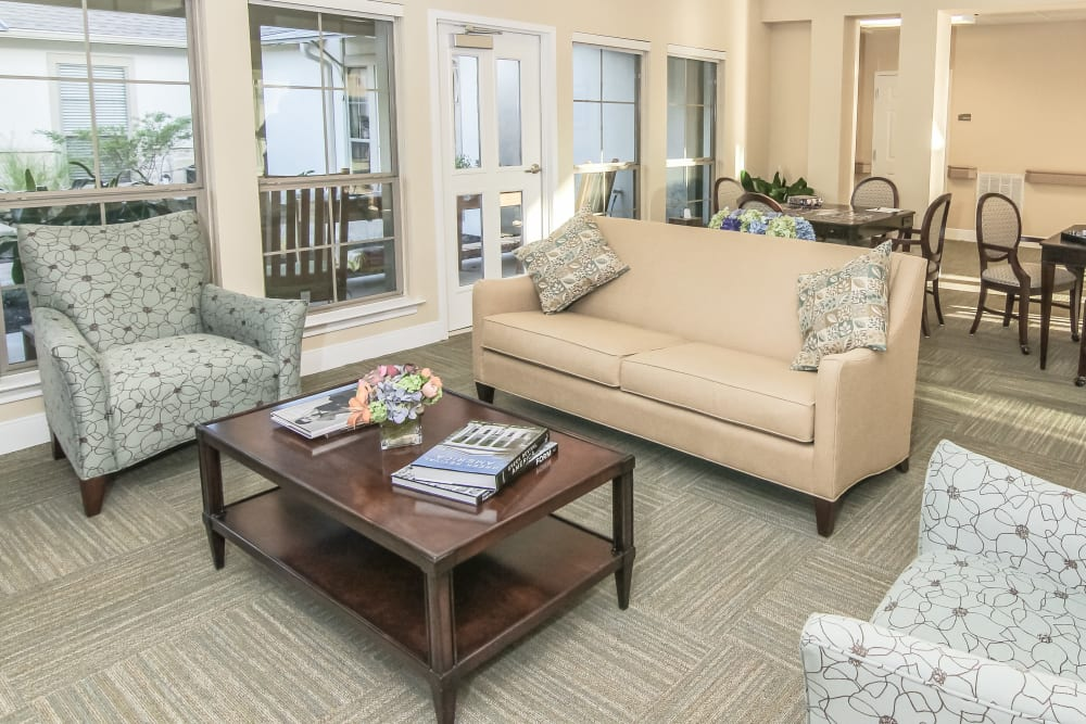 Cozy couches for residents at Village on the Park Onion Creek in Austin, Texas