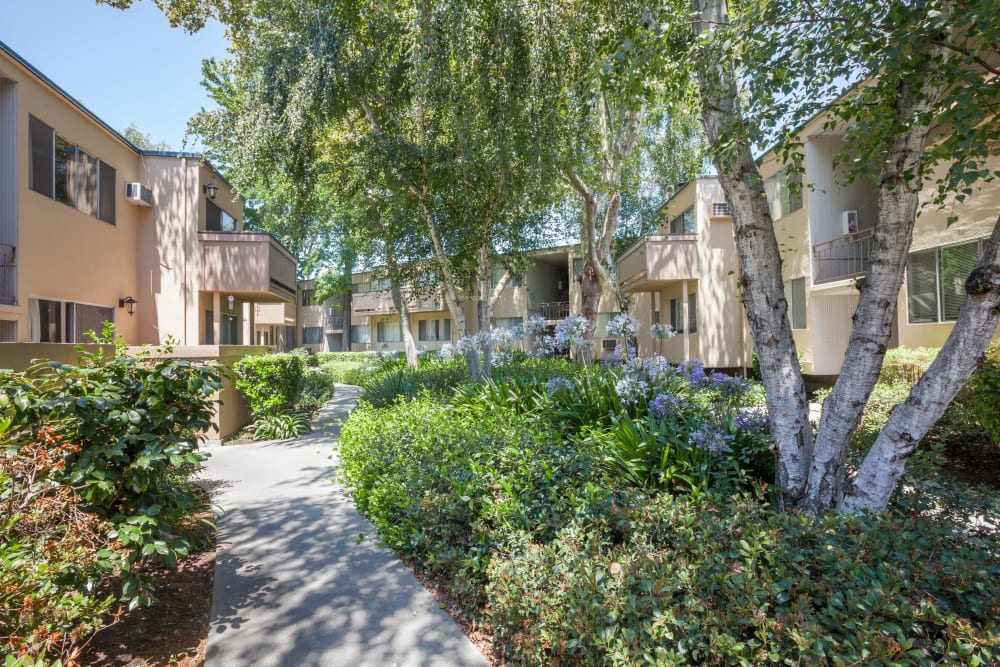 Lush landscaping at The Glens Apartments in San Jose, California