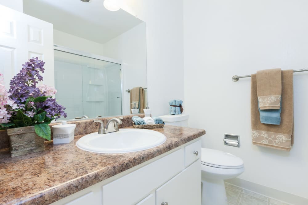 Bright, clean bathroom at The Glens Apartments in San Jose, California