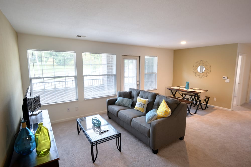Living room in model home at Cascade Falls Apartments in Akron, Ohio