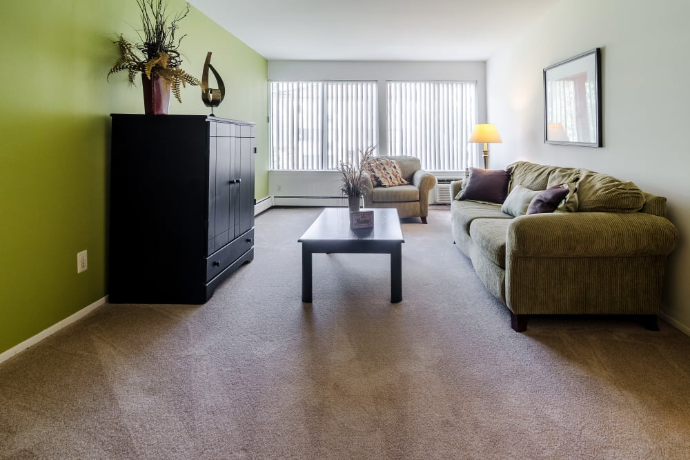 Living room model at Edgewood Park Apartments in Pontiac, Michigan