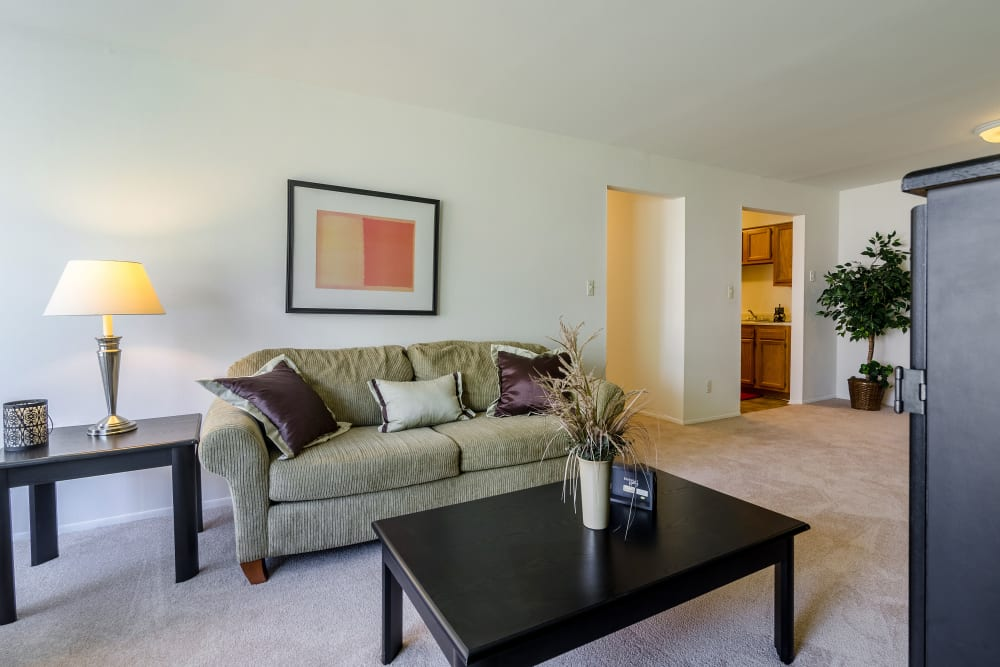 Lounge area model at Edgewood Park Apartments in Pontiac, Michigan