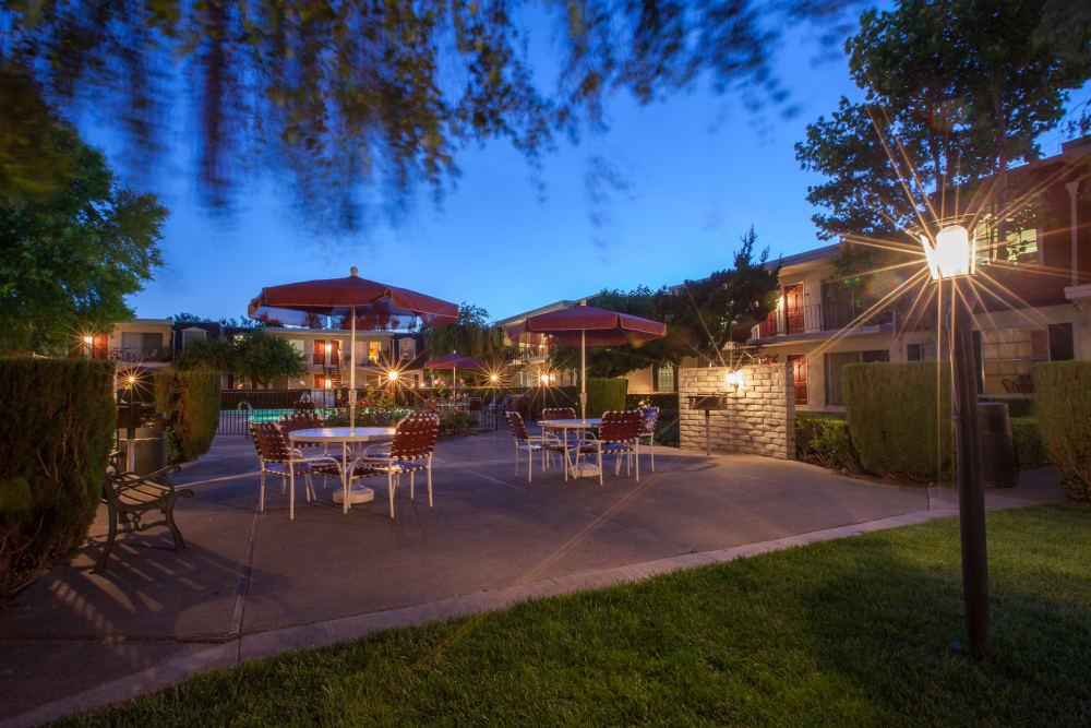 Outdoor patio area at Normandy Park Apartments in Santa Clara, California