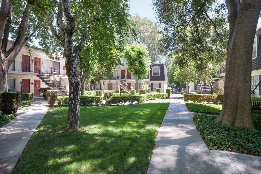 Lush landscaping at Normandy Park Apartments in Santa Clara, California