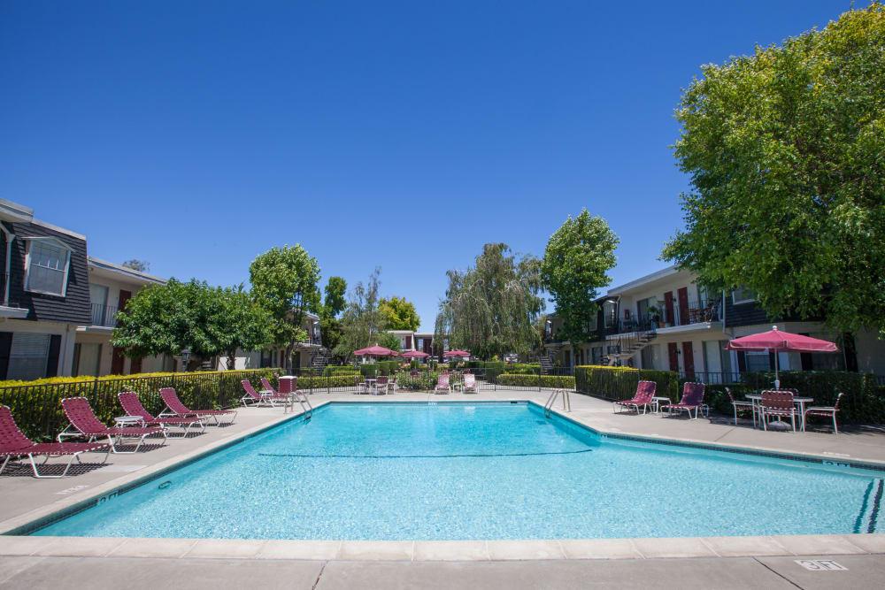 Resort-style swimming pool at Normandy Park Apartments in Santa Clara, California