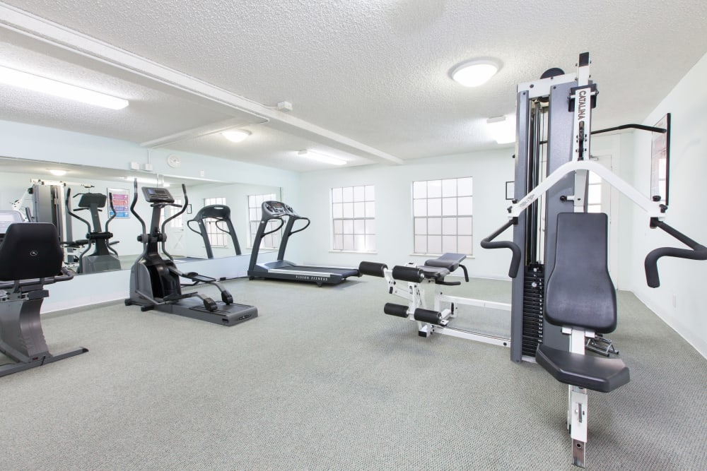 Normandy Park Apartments offers a fitness center in Santa Clara, California