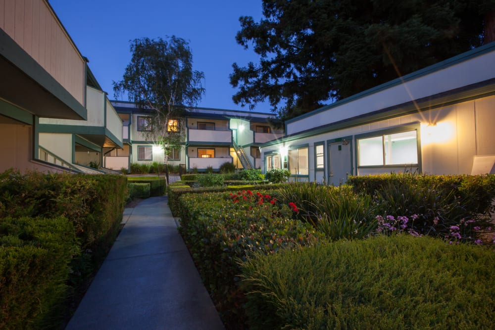 Lush landscaping at Oak Pointe Apartments in Fremont, California