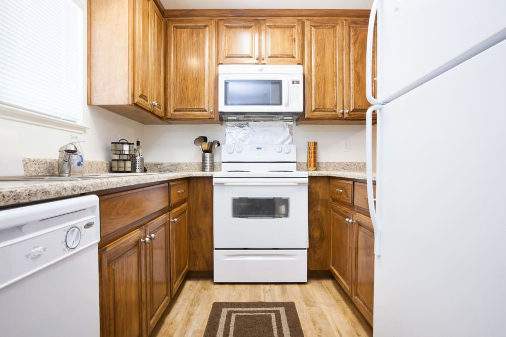 Bright kitchen at Oak Pointe Apartments in Fremont, California