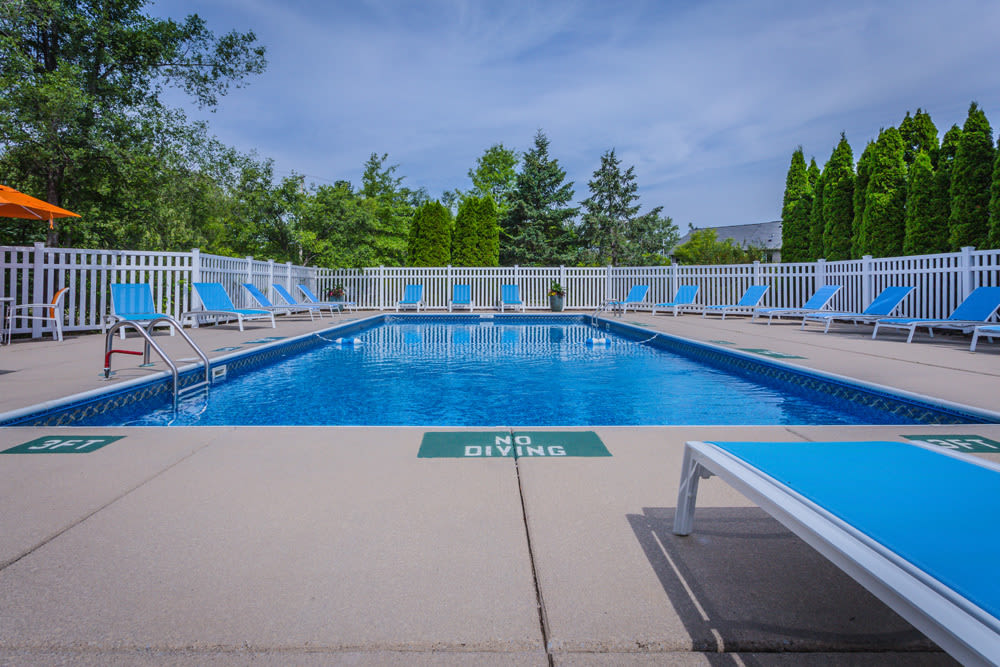 Outdoor swimming pool at Waters Edge Apartments in Lansing, Michigan