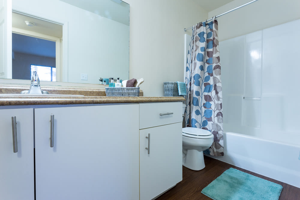 Bathroom model with blue accents at Waters Edge Apartments in Lansing, Michigan