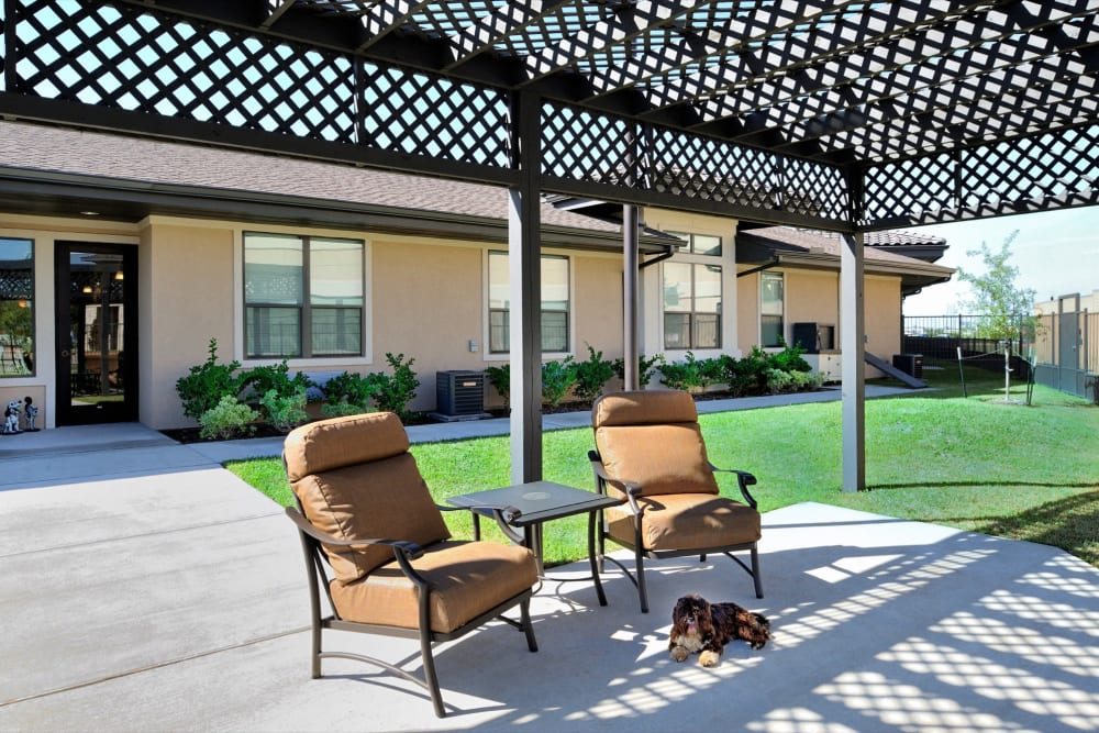 Covered outdoor seating and a dog laying down at Clayton Oaks Living in Richmond, Texas