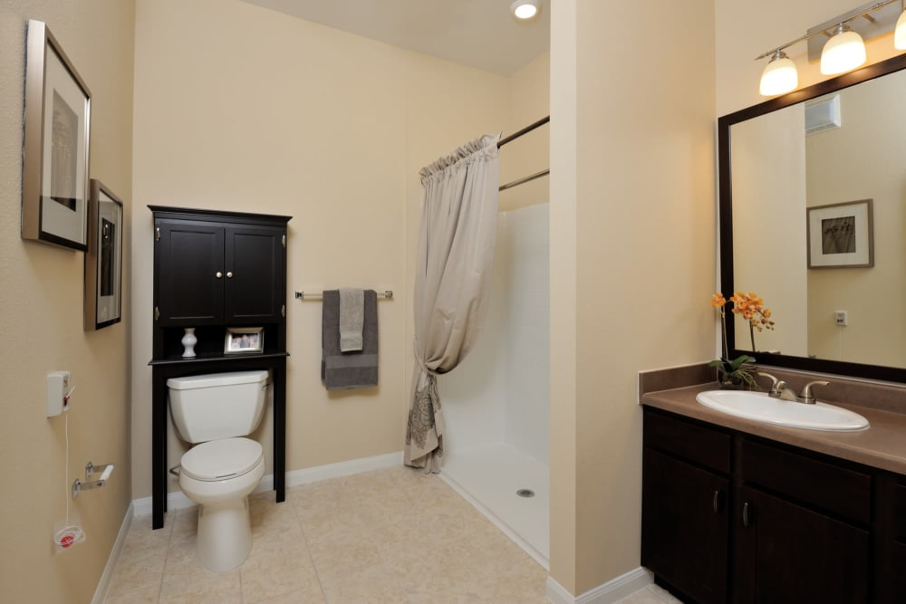 An apartment bathroom with a shower at Clayton Oaks Living in Richmond, Texas