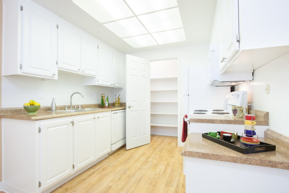 Bright model kitchen at Vista Pointe Apartments in Santa Clara, California