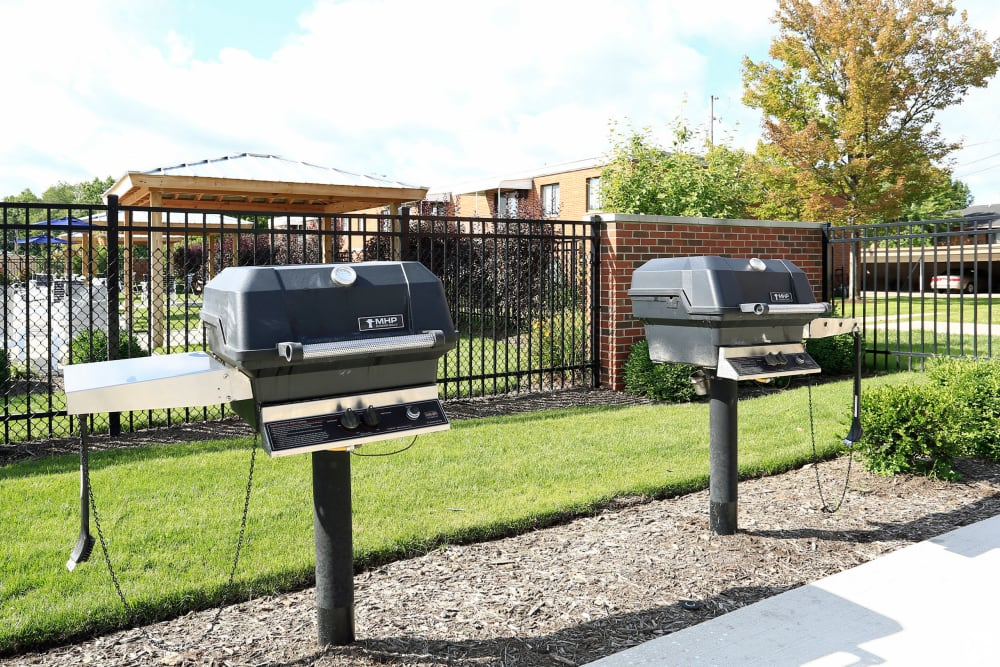 Resident grill stations at Colony Club in Bedford, Ohio.