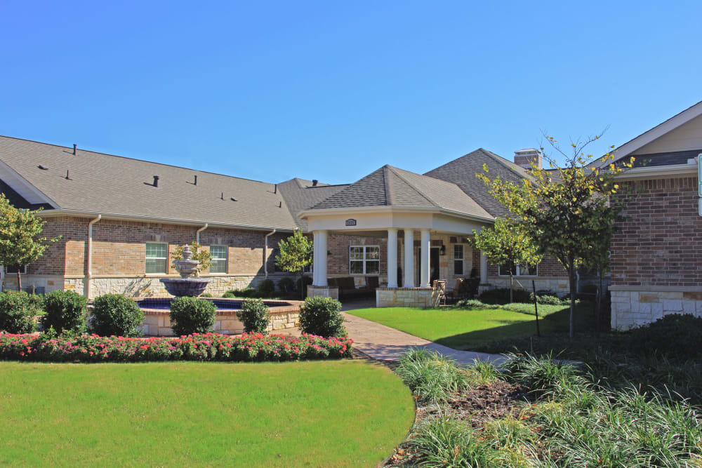 Landscaping outside of The Village at Valley Creek in Denton, Texas