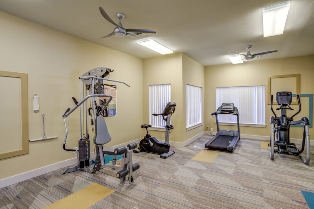Fitness center at EnVue Apartments in Bryan, Texas