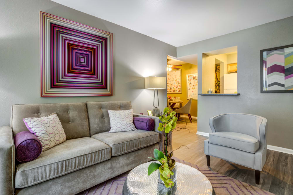Living room at EnVue Apartments in Bryan, Texas