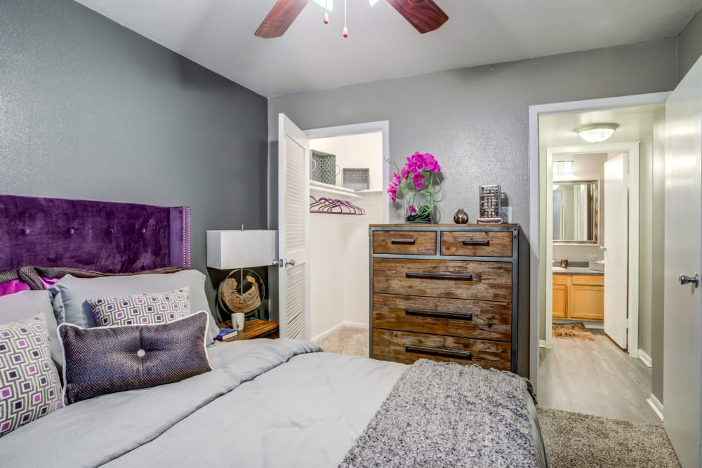 Bedroom with closet view at EnVue Apartments in Bryan, Texas