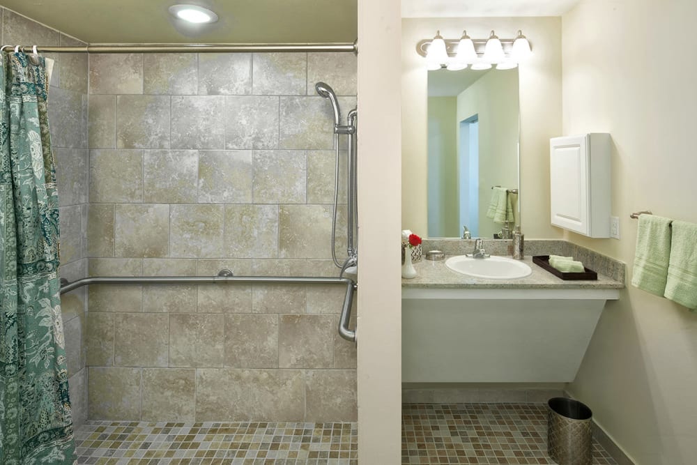 Apartment home bathroom at The Village of Meyerlandin Houston, Texas