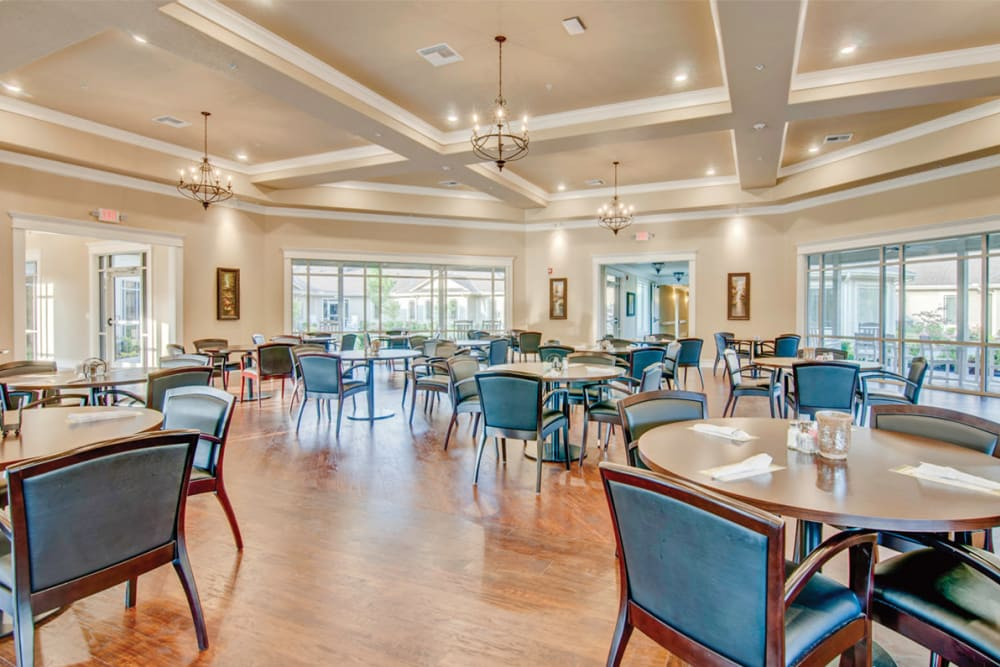 The main dining hall at Village on the Park Bentonville in Bentonville, Arkansas