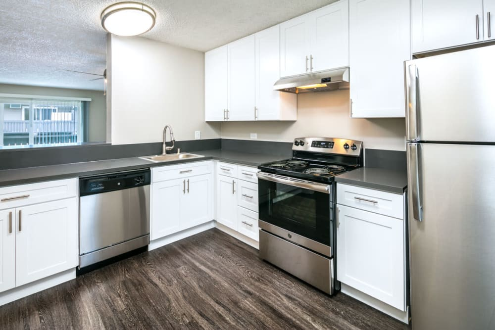 Kitchen with stainless steel appliances at 1038 on Second in Lafayette, California