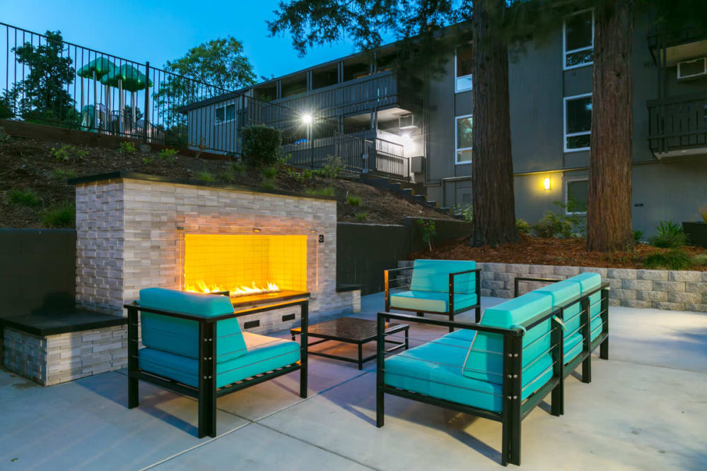 Outdoor lounge with fireplace at 1038 on Second in Lafayette, California