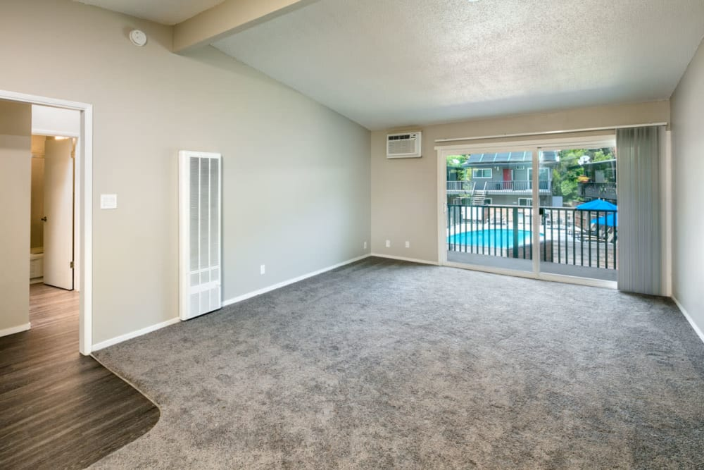Living room with patio access at 1038 on Second in Lafayette, California