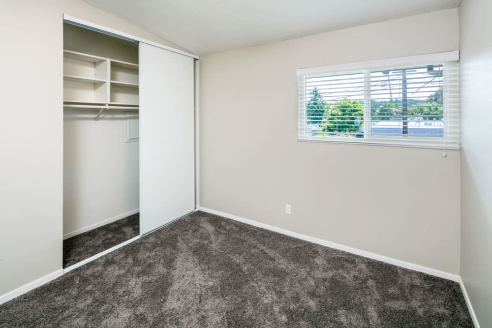 Bedroom with a large closet at 1038 on Second in Lafayette, California