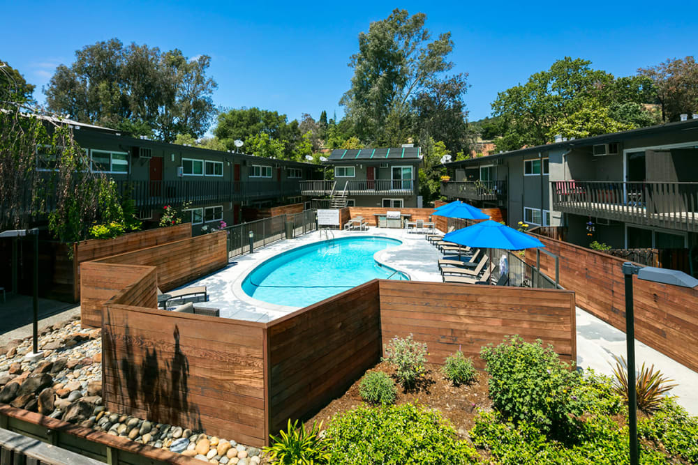 Fenced swimming pool at 1038 on Second in Lafayette, California