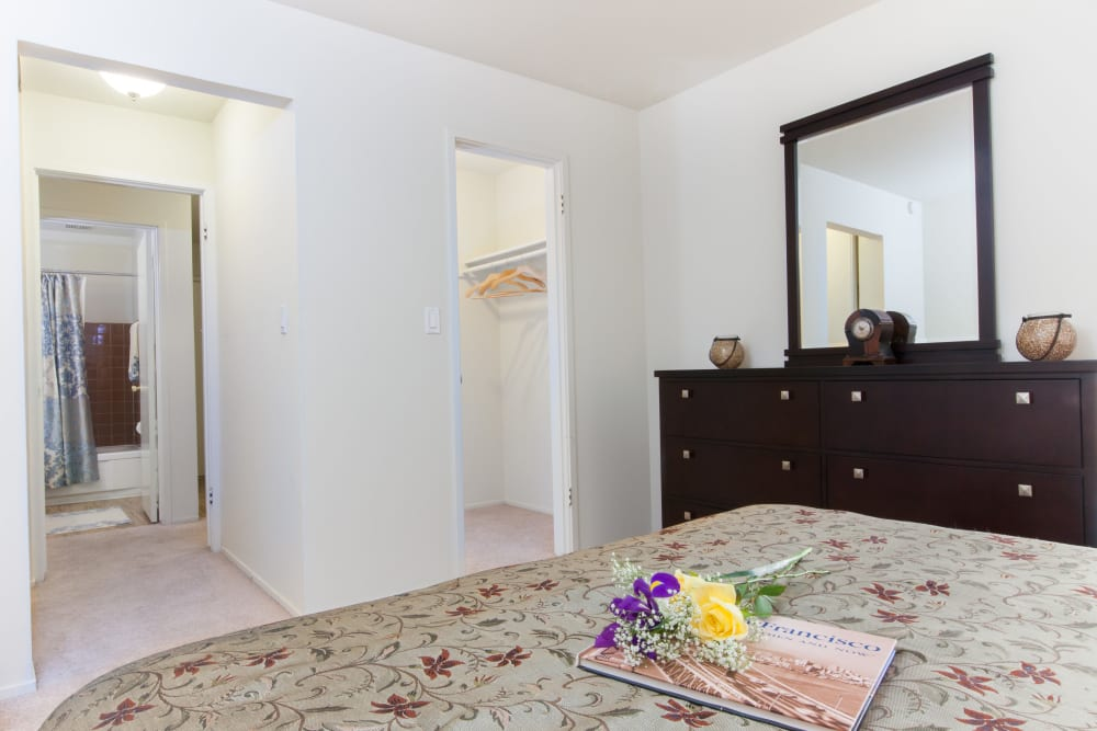 Bedroom with a walk-in closet at Diablo Pointe in Walnut Creek, California