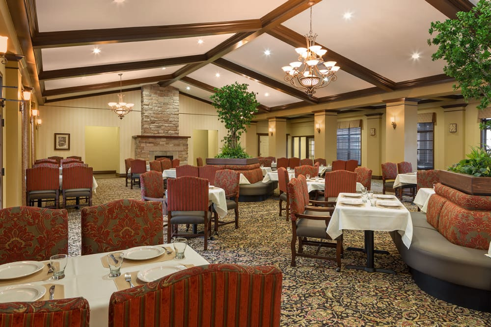 The large dining hall at Spring Creek Village in Spring, Texas