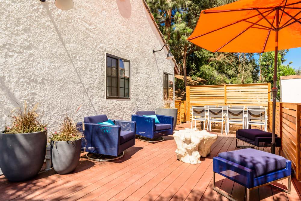 Patio with furniture at Sonora at Alta Loma in Alta Loma , California