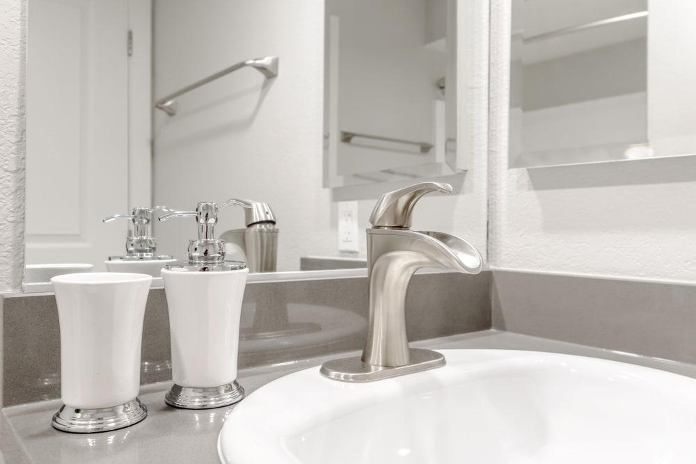 Bathroom sink at Sonora at Alta Loma in Alta Loma, California
