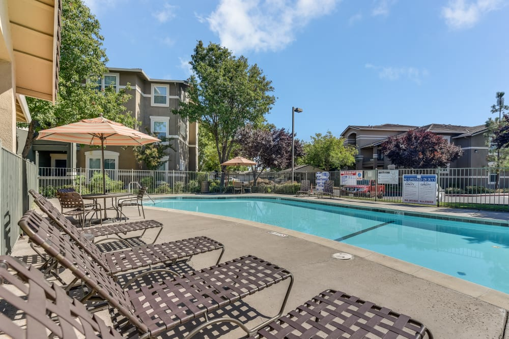 The pool side at Natomas Park Apartments in Sacramento, California