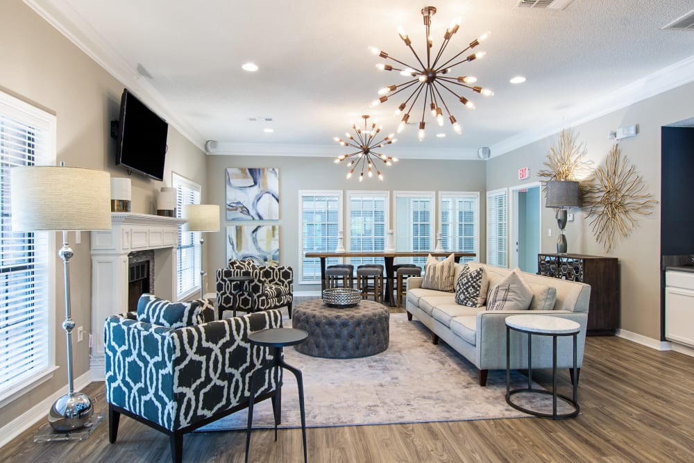 Brightly illuminated living room in model home at The Retreat at Chenal in Little Rock, Arkansas