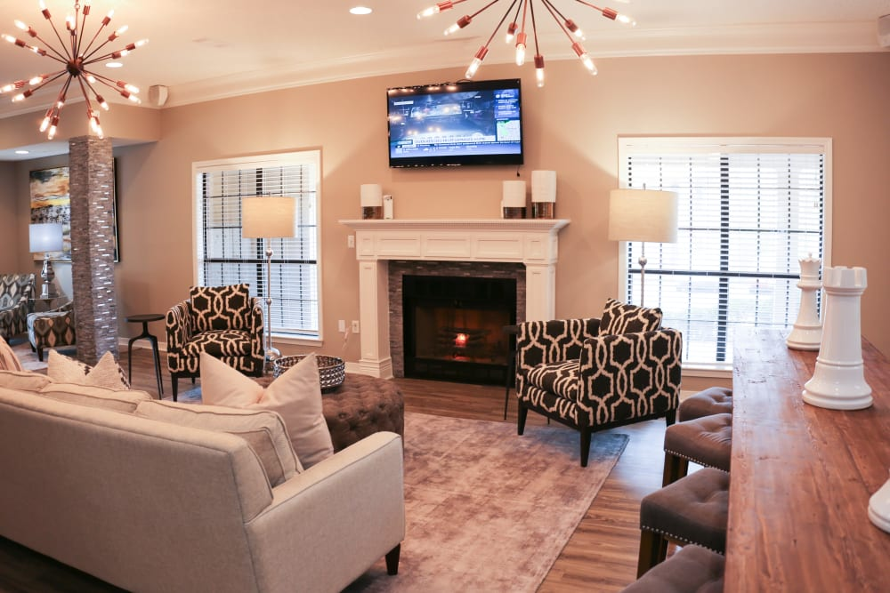 Fireplace in living room at The Retreat at Chenal in Little Rock, Arkansas