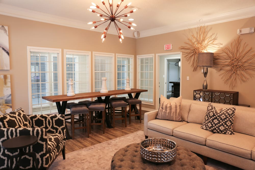 Model living room in apartment at The Retreat at Chenal in Little Rock, Arkansas