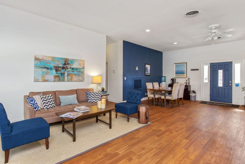 Model living room with blue accents at Carriage Hills in Macon, Georgia