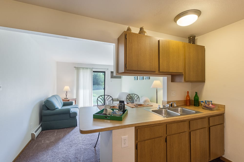 Kitchen counters and sink at Kellogg Cove Apartments in Kentwood, Michigan