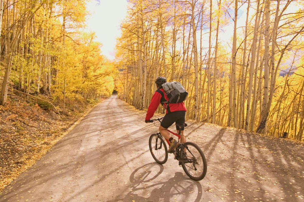Resident riding his bike near FalconView in Colorado Springs, Colorado