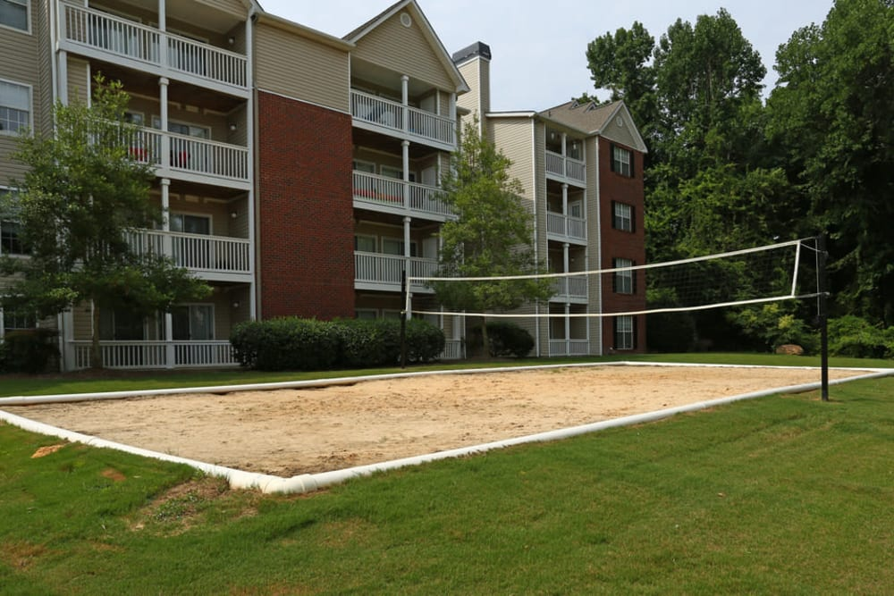 Resident volleyball court at Broad River Trace in Columbia, South Carolina.