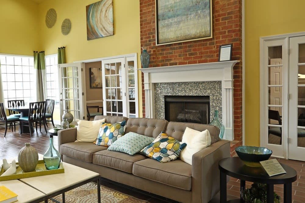 Spacious resident seating area in the clubhouse at Broad River Trace in Columbia, South Carolina.