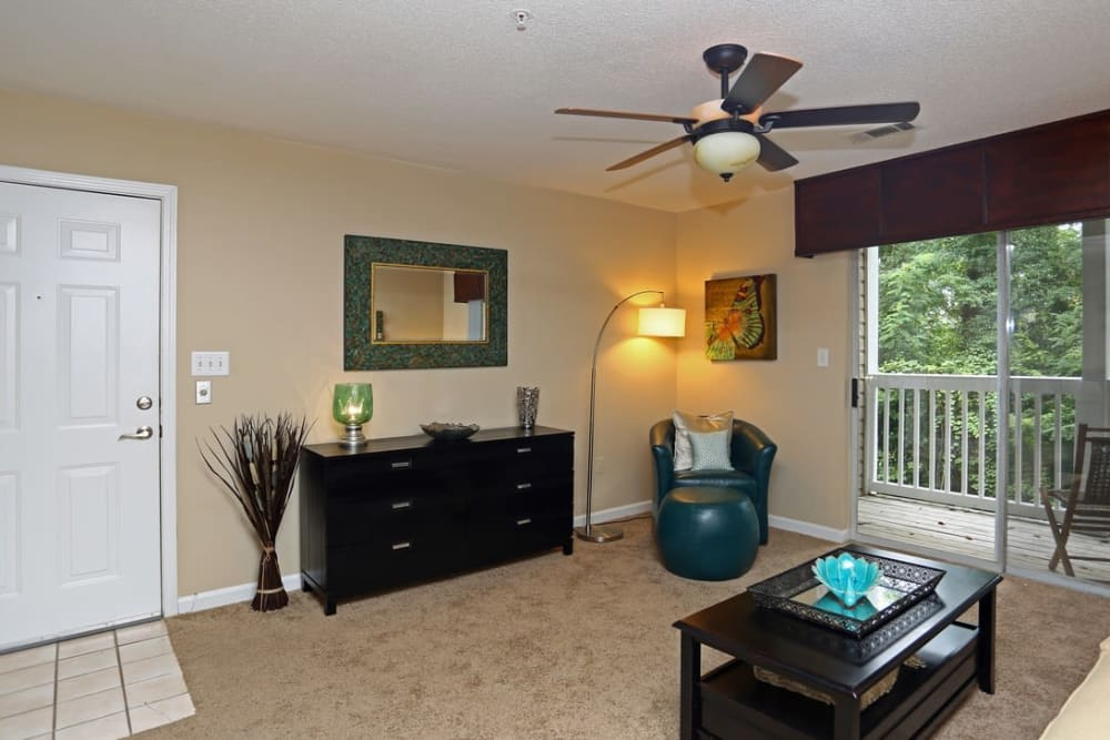 Spacious living rooms with natural light at Broad River Trace in Columbia, South Carolina.