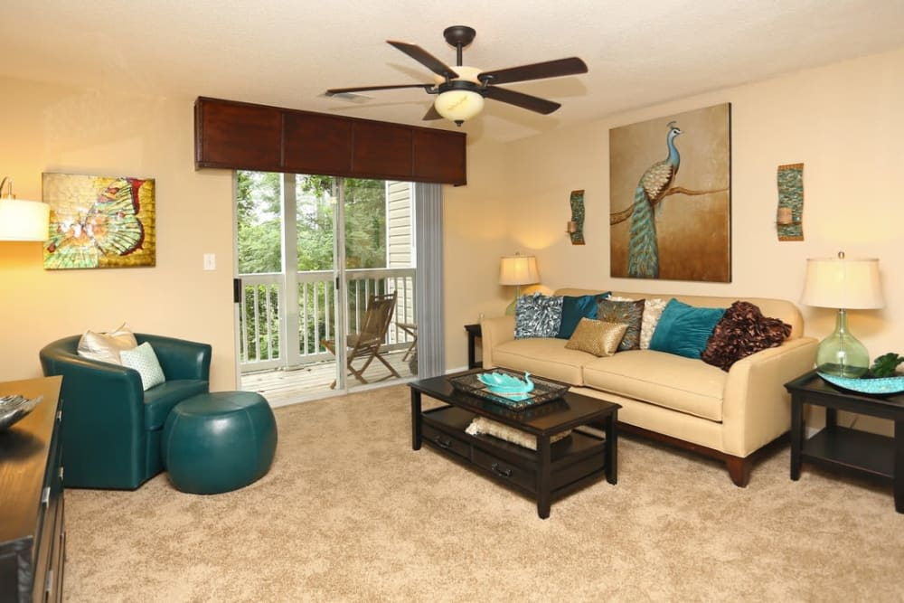 Apartments have a private balcony or patio at Broad River Trace in Columbia, South Carolina